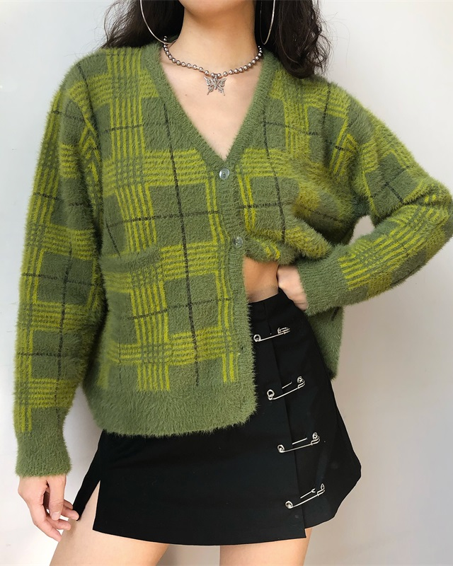 Plaid Knit Cardigan - MAGIC PERIOD