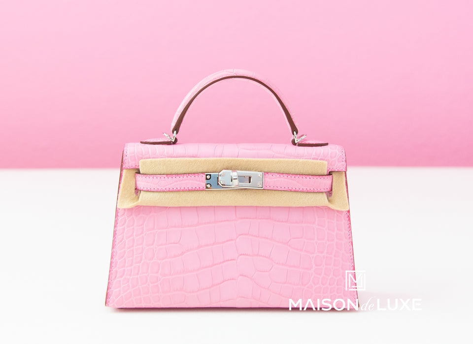 Hermes 5P Bubblegum Pink Crocodile Mini Kelly II 20 cm
