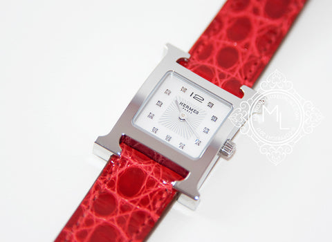 Hermes Diamond H Hour Watch PM Braise Ferrari Red Crocodile Strap - New