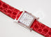 Hermes Diamond H Hour Watch PM Braise Ferrari Red Crocodile Strap