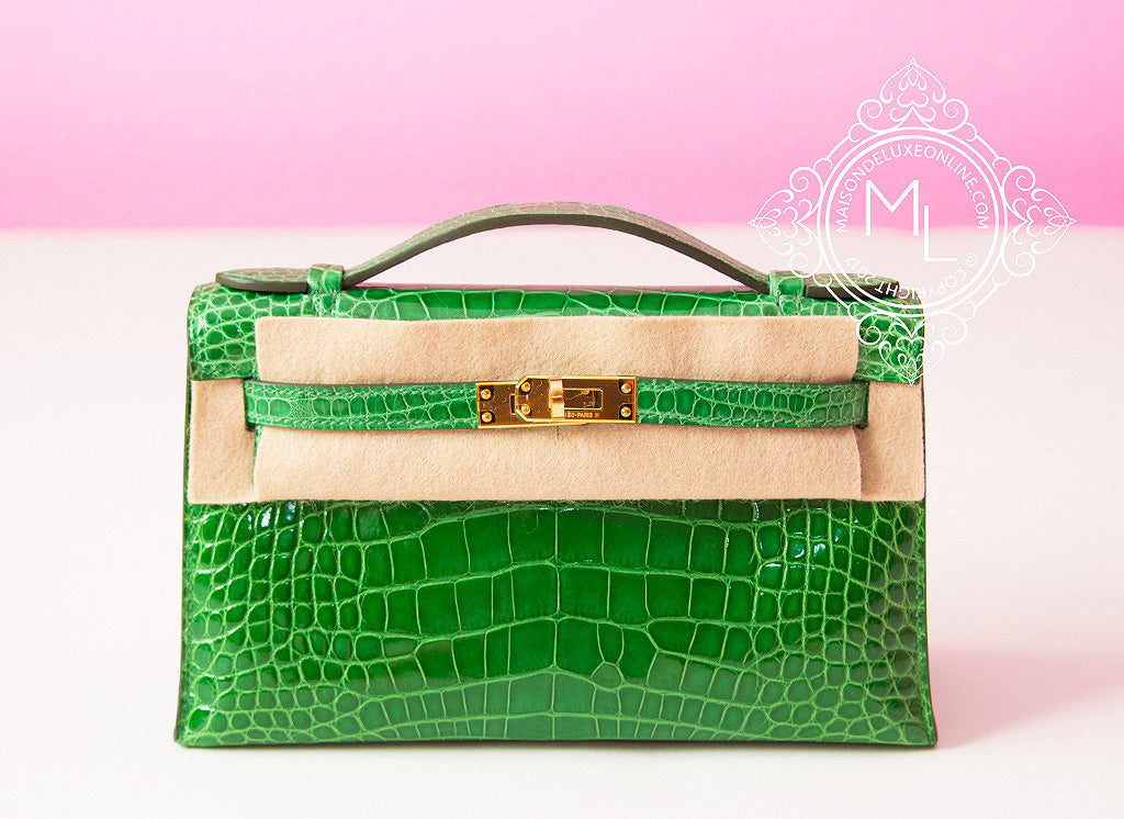 Hermes Green Cactus Crocodile Mini Kelly Pochette Clutch