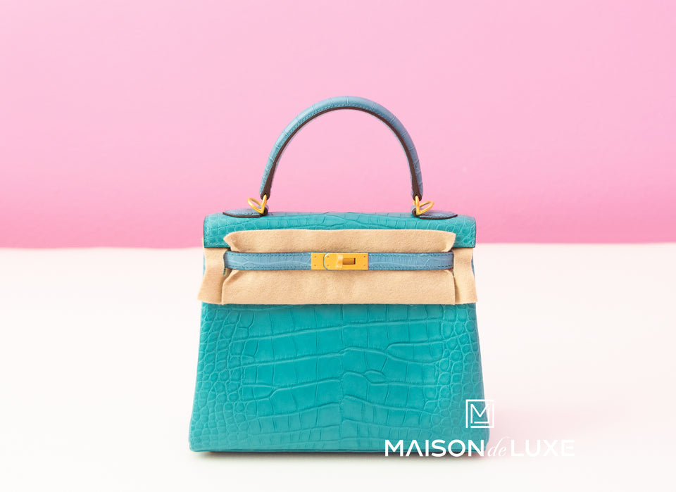 Hermes Blue Paon + Bleu Saint CYR Crocodile Kelly 25 Handbag