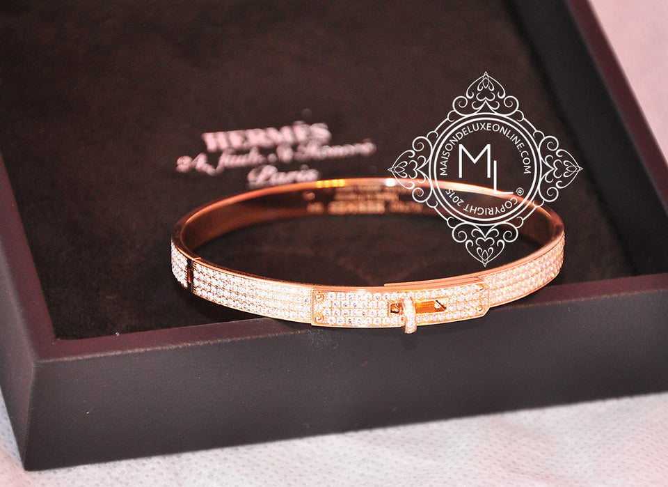 Hermes Rose Gold Pave 3.15 CT 499 Diamond Kelly Bracelet Bangle SH - New - MAISON de LUXE - 1