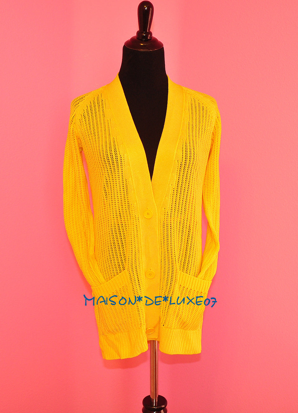 Hermes Yellow Jaune Silk Cardigan Sweater EU 34