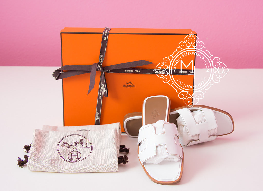 1886f47bb0a Hermes Womens White Oran Sandal Slipper 37 6 Shoes Flats Loafers ...