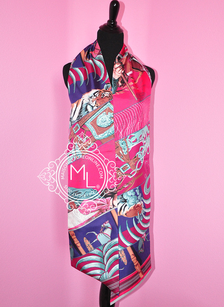 Hermes Rose Pink Silk Carre en Carres Maxi Twilly Shawl Scarf Wrap - New - MAISON de LUXE - 1