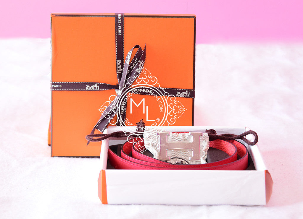 Hermes Rose Jaipur Red 32 mm Constance H Buckle 90 Belt Kit - New - MAISON de LUXE - 1