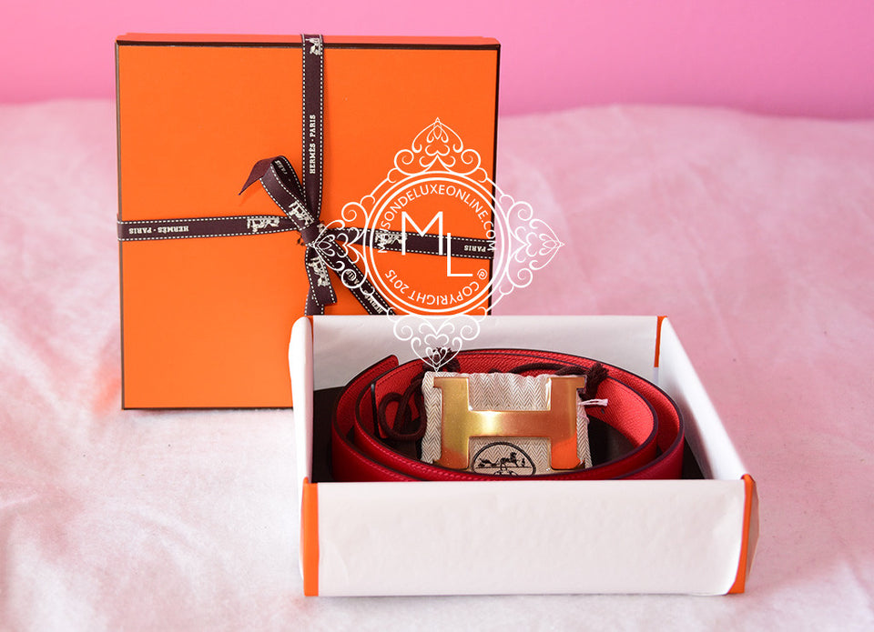 Hermes Rose Jaipur Rouge Casaque 42 mm Constance H Gold Buckle 95 Belt Kit - New - MAISON de LUXE - 1
