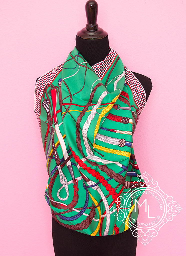 Hermes Green Twill Silk 90 cm Fouets et Badines Scarf
