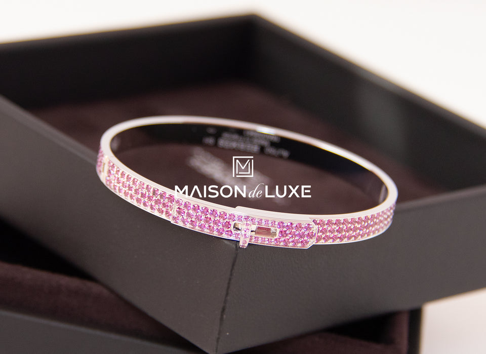 Hermes White Gold Pave Pink Diamond Kelly Bracelet Bangle SH