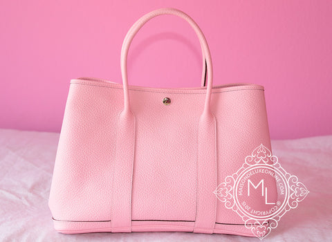 Hermes Pink Rose Sakura Leather 36 Garden Party Handbag - New - MAISON de LUXE - 1