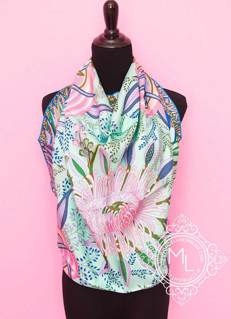 Hermes Aqua Green Twill Silk 90 cm Flowers of South Africa Scarf