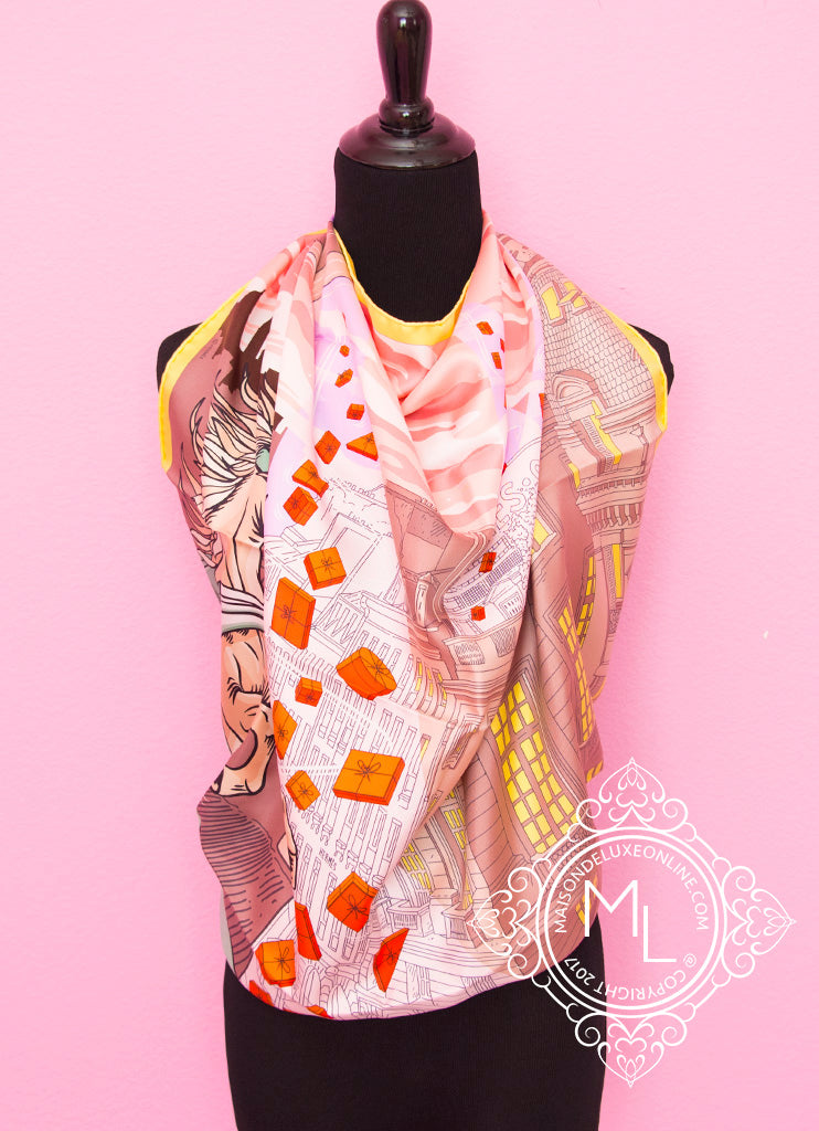 Hermes Pink Jaune Twill Silk 90 cm Space Shopping au Faubourg Scarf