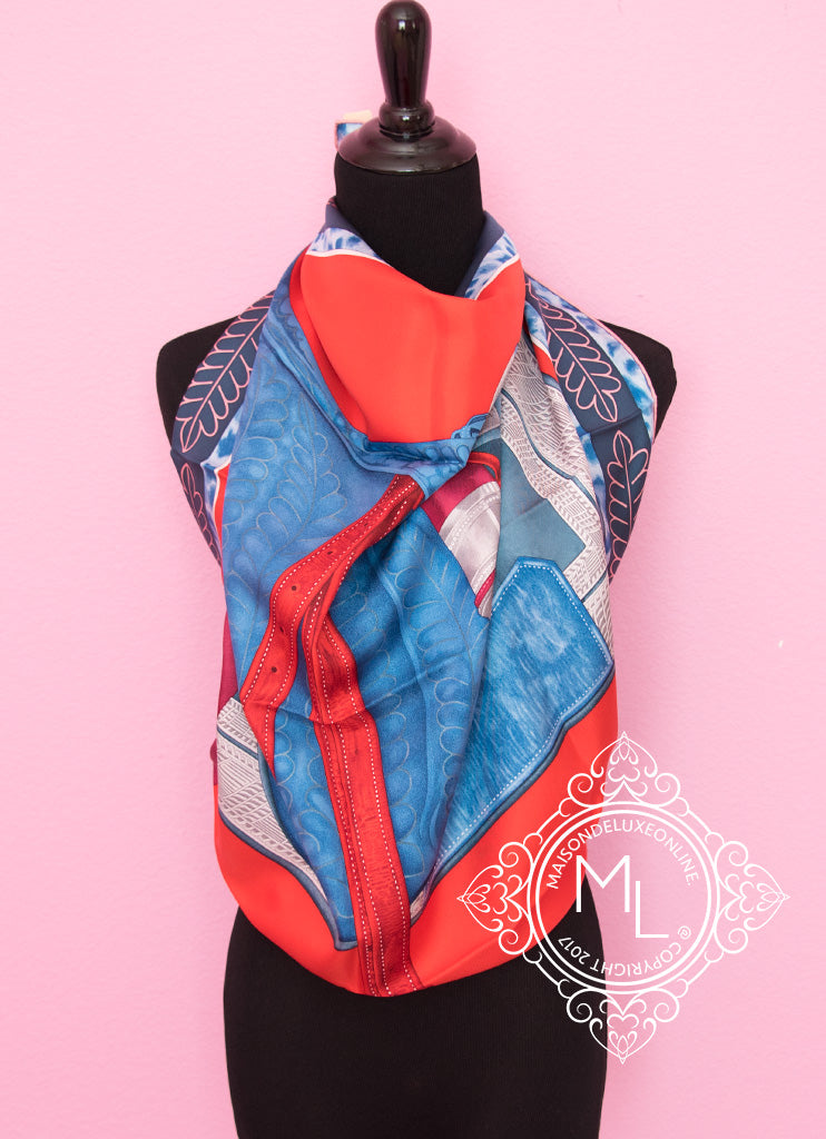 Hermes Red Blue Twill Silk 90 cm Selle d'Officier en Grande Tenue Scarf