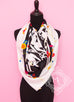 Hermes Black Twill Silk 90 cm Brides Fleuries Scarf