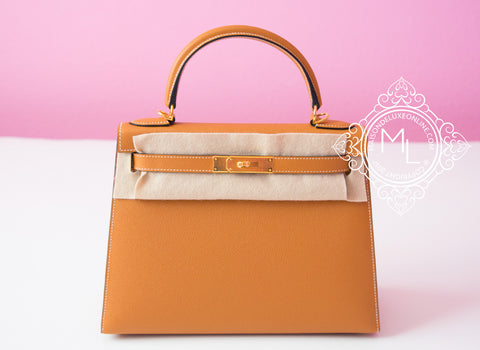 Hermes Toffee Gold GHW Sellier Epsom Kelly 28 Handbag - New