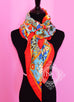 Hermes Cashmere 140 GM Collections Imperiales Rouge Jaune Lagon Shawl Scarf - New - MAISON de LUXE - 5