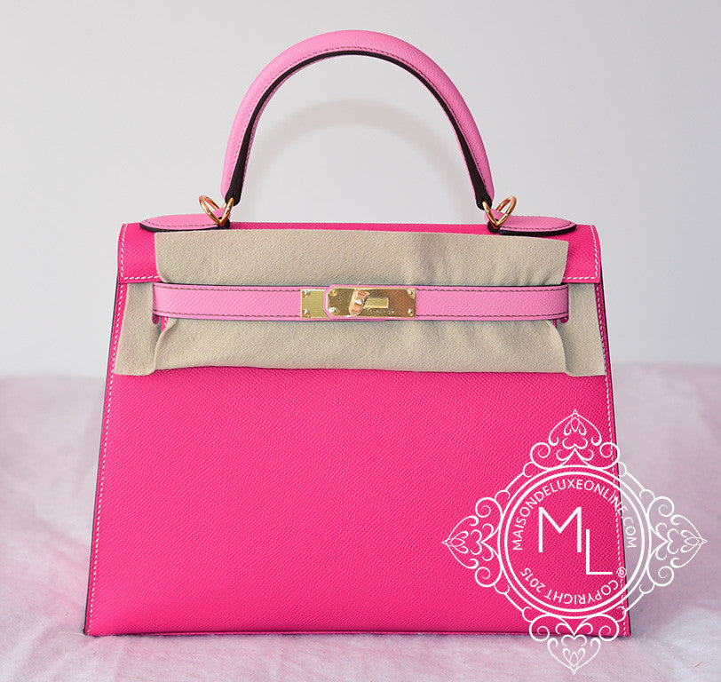 Hermes Rose Tyrien 5P Pink Sellier Kelly 28 Handbag - New - MAISON de LUXE - 2