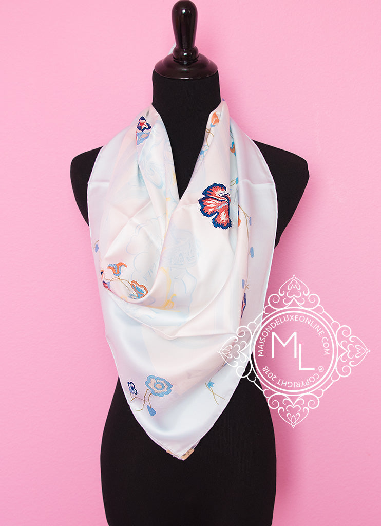 Hermes Blue Twill Silk 90 cm Brides Fleuries Scarf - New