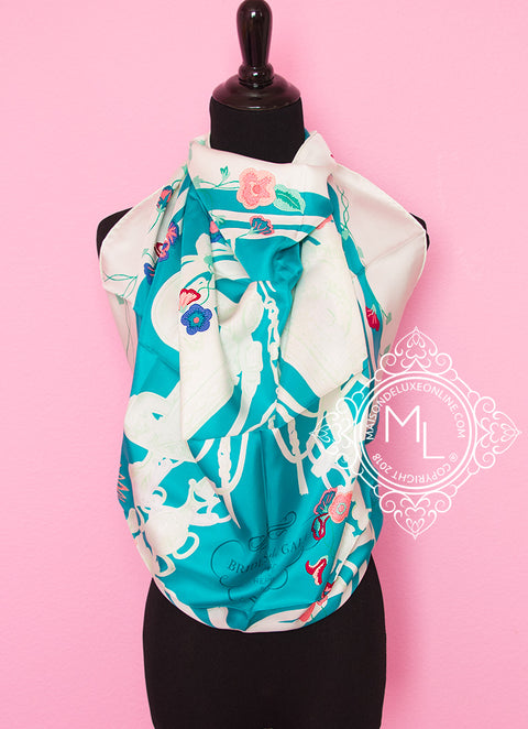 Hermes Aqua Twill Silk 90 cm Brides Fleuries Scarf - New