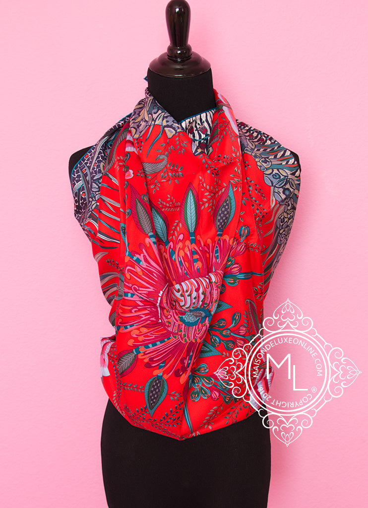 Red Twill Silk 90 cm Flowers of South Africa Scarf