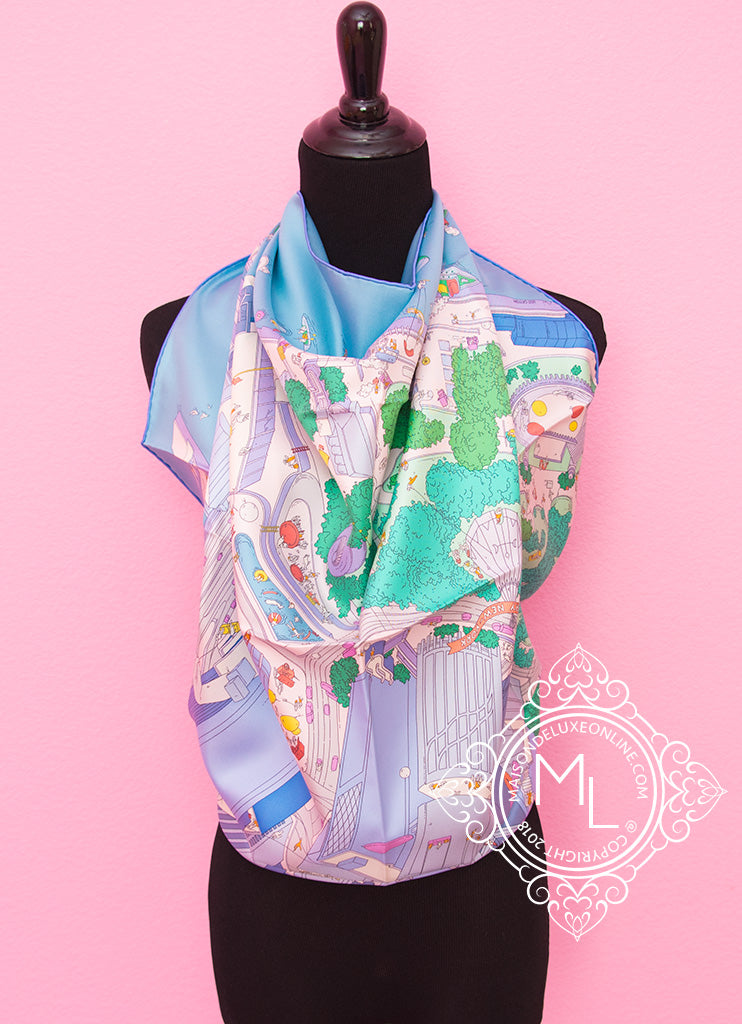 "Hermes ""The Battery Park New York"" Twill Silk 90 cm Scarf"