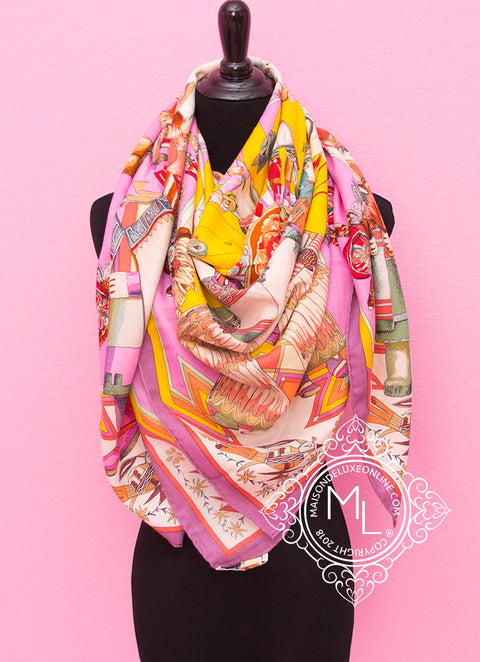 Hermes Cashmere 140 GM Kachinas Pink Yellow Shawl Scarf - New