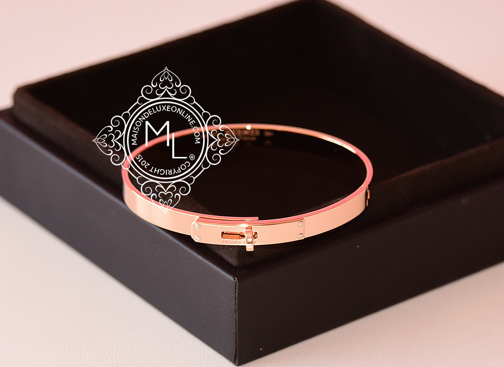 Hermes Rose Gold 4 Diamond Kelly Bracelet Bangle Cuff SH - New - MAISON de LUXE - 1
