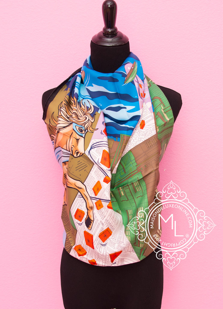 Hermes Blue Taupe Twill Silk 90 cm Space Shopping au Faubourg Scarf