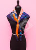 Hermes Purple Orange Twill Silk 90 cm Space Shopping au Faubourg Scarf