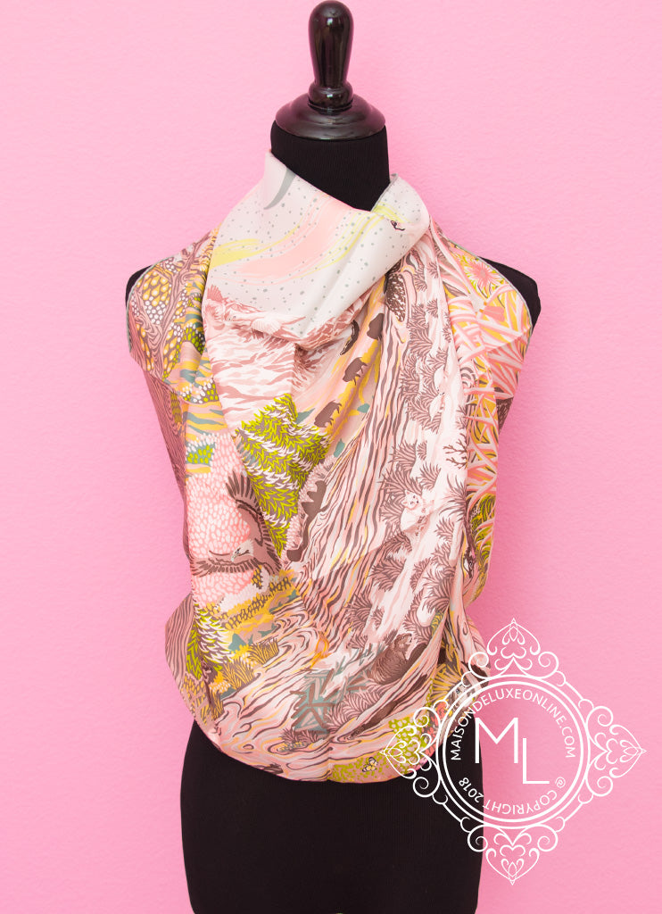 Pink Twill Silk 90 cm Into the Canadian Wild Scarf