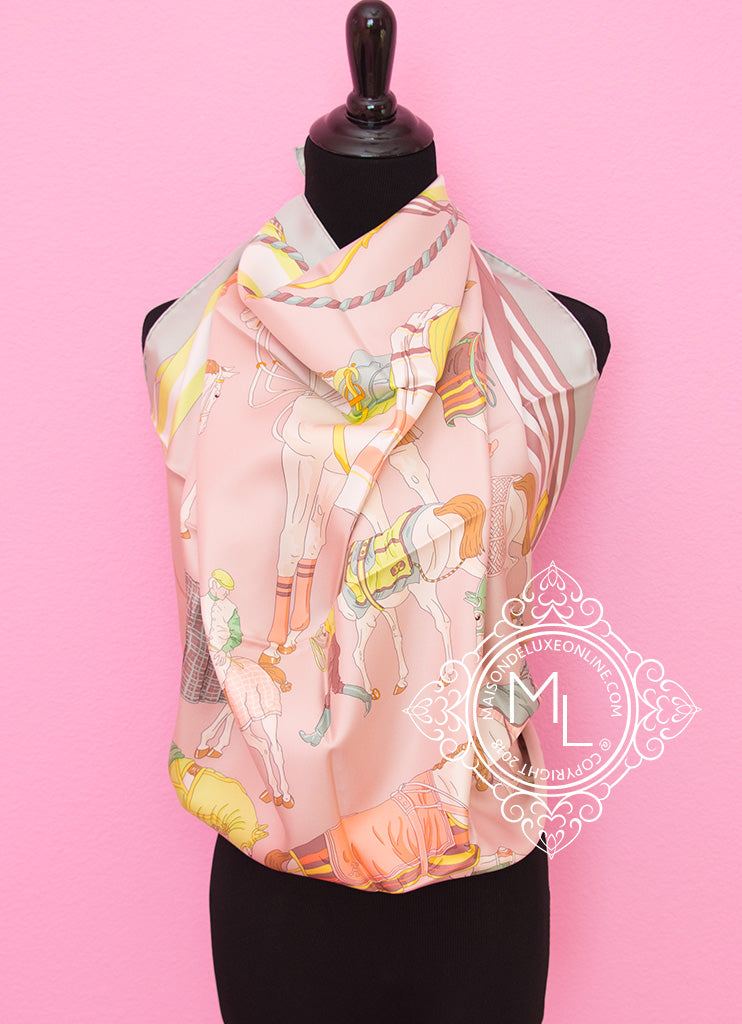Hermes Pink Green Twill Silk 90 cm Ronds de Marche Scarf