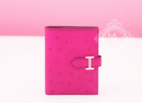 Rose Pourpre Pink Ostrich Compact Bearn Wallet Clutch