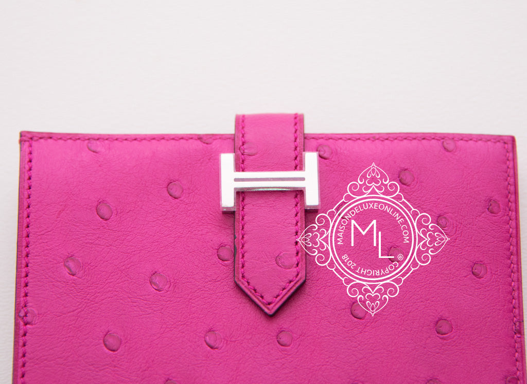Hermes Rose Pourpre Pink Fuchsia Ostrich Compact Bearn Wallet Clutch
