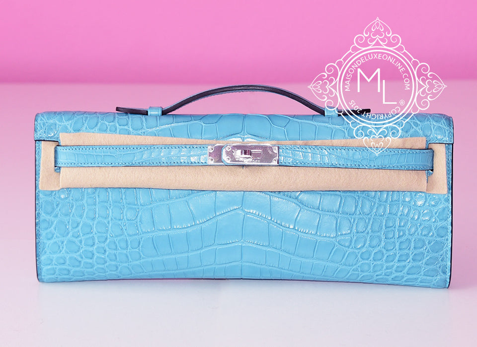 Hermes Blue Saint CYR Crocodile Alligator Kelly Cut Pochette Mini Clutch - New - MAISON de LUXE - 1