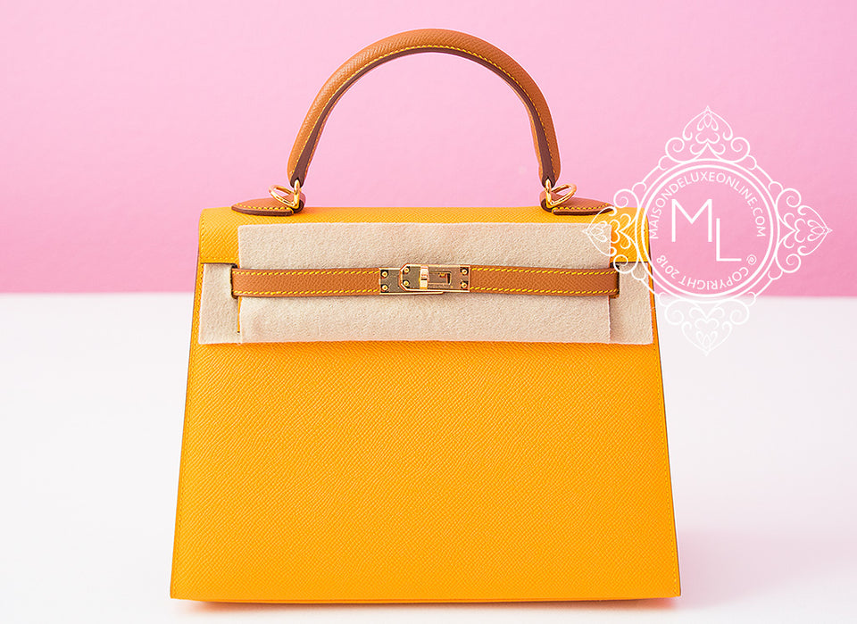 Hermes Jaune D'or + Gold HSS Sellier Epsom Kelly 25 Handbag