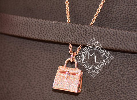 Hermes Rose Gold Diamond Kelly Pendant Necklace - New - MAISON de LUXE - 1