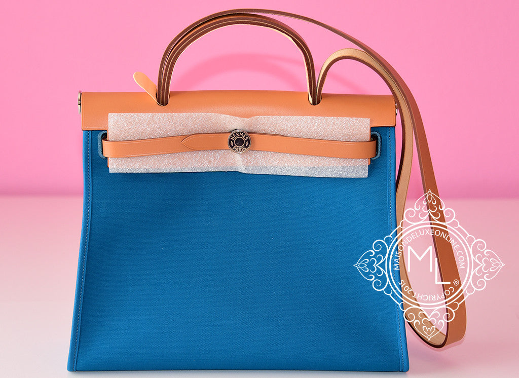 Hermes Blue Izmir Canvas Zip Herbag 31 Pm Handbag - New - MAISON de LUXE - 1