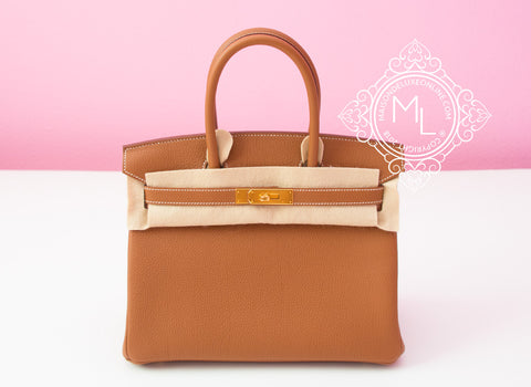 Hermes Gold Tan Togo GHW Birkin 30 Handbag - New