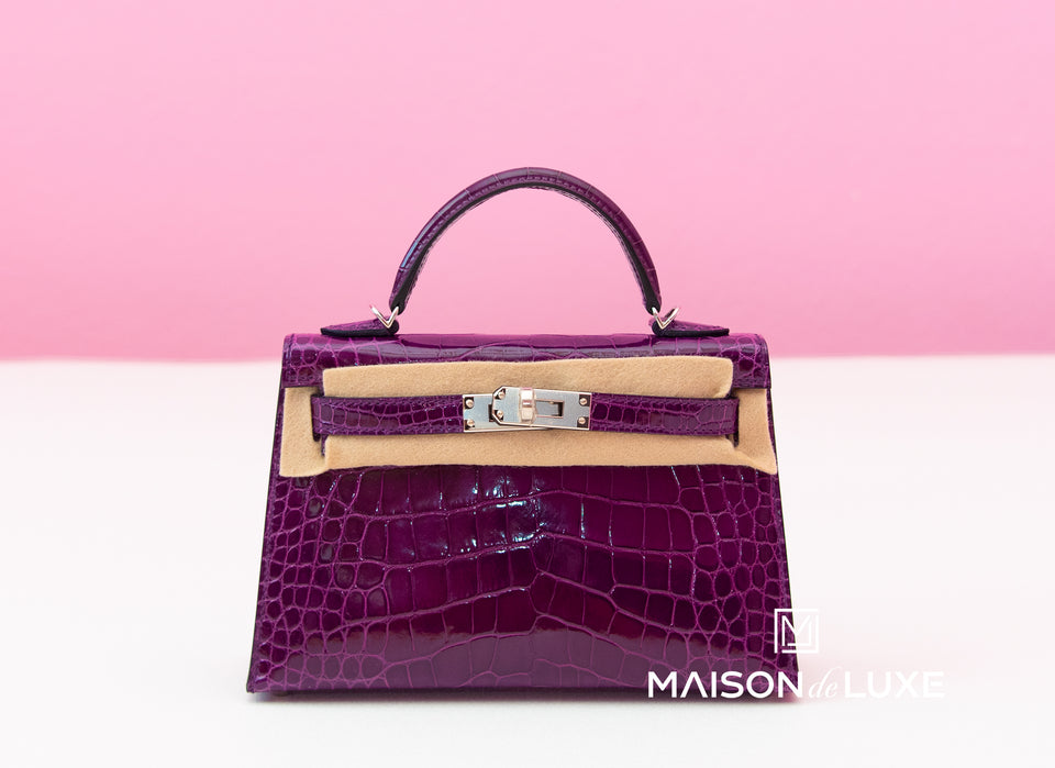 Hermes Cassis Purple Crocodile Mini Kelly II 20 cm