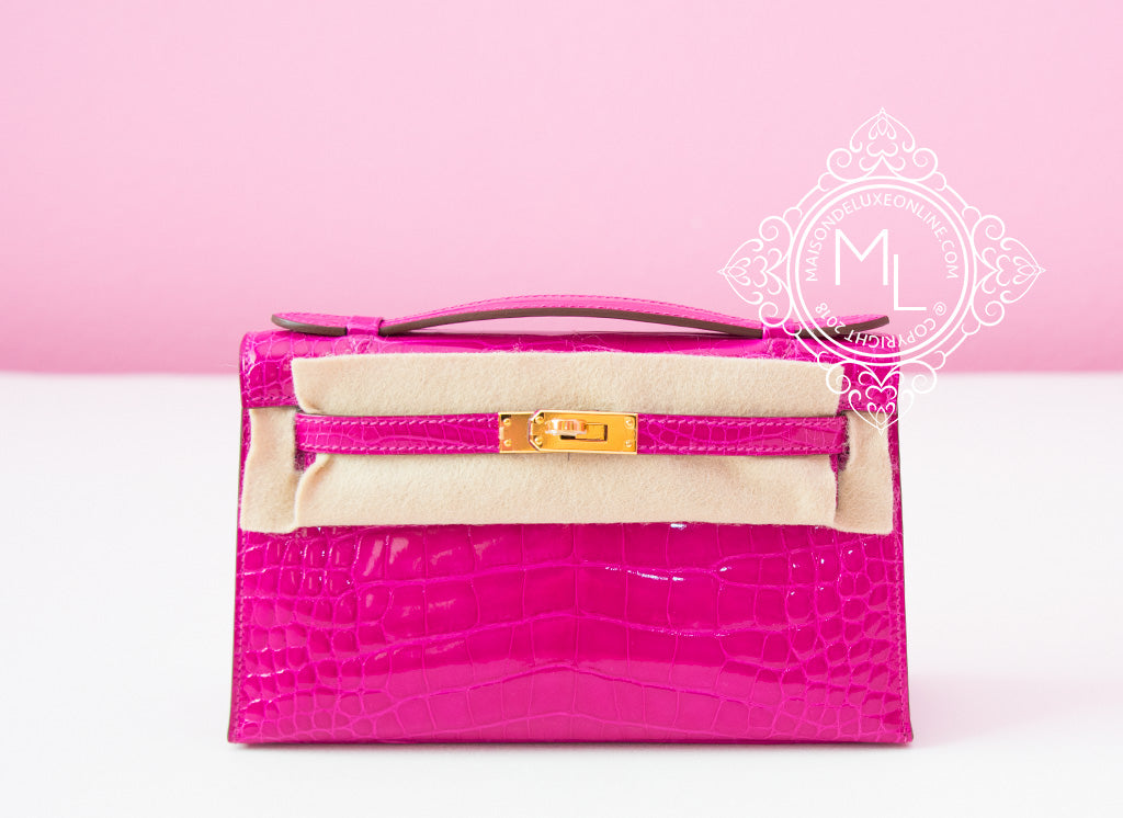 Hermes Pink Rose Scheherazade Crocodile Mini Kelly Pochette Clutch