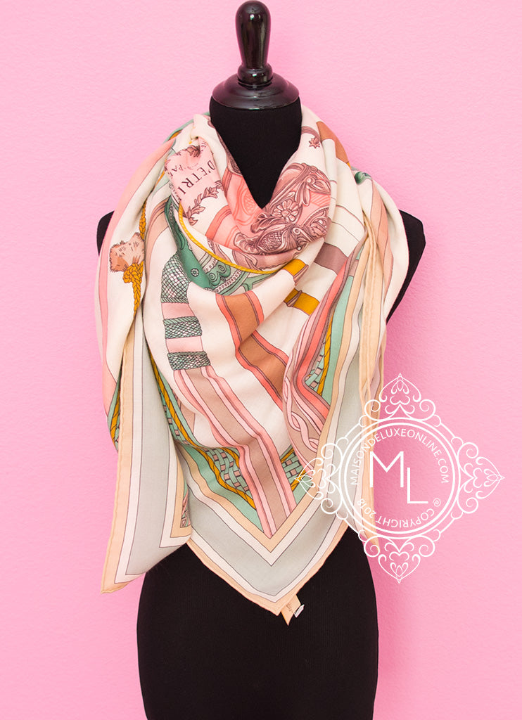 Hermes Cashmere 140 GM Blanc Rose Duo d'Etriers Shawl Scarf