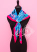 Hermes Rose Pink Blue Twill Silk 90 cm Flamingo Party Scarf