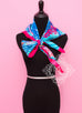 Rose Pink Blue Twill Silk 90 cm Flamingo Party Scarf