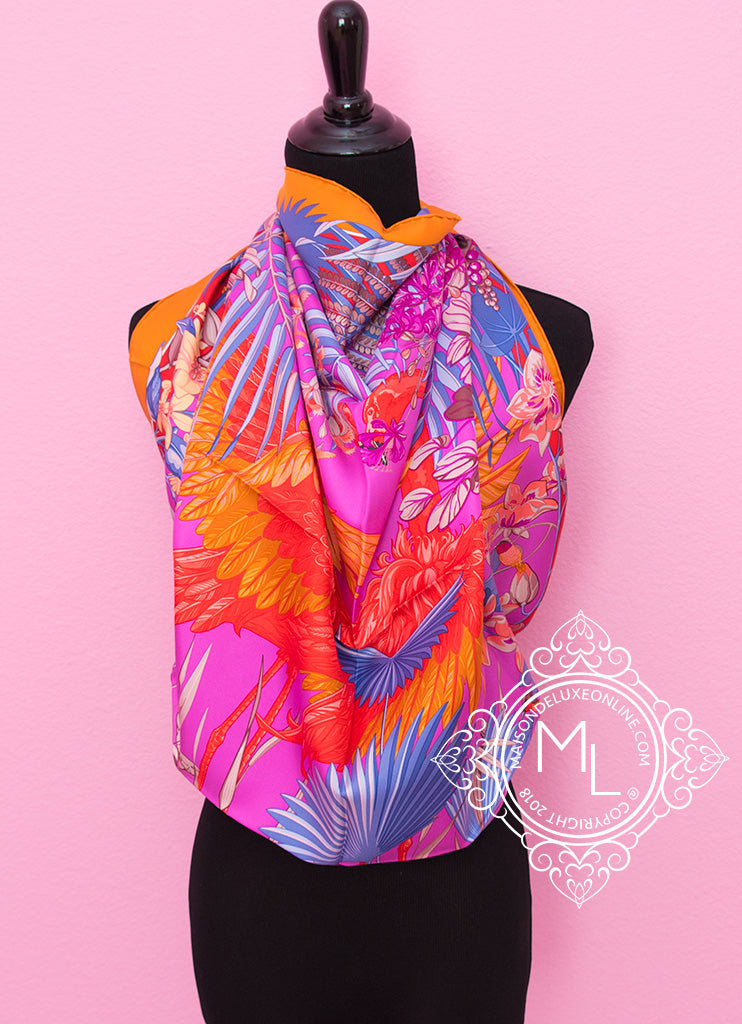 Hermes Potiron Twill Silk 90 cm Flamingo Party Scarf