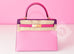 Hermes 5P Pink Rose Shocking Anemone Sellier Chevre Kelly 28 Handbag - New - MAISON de LUXE - 3