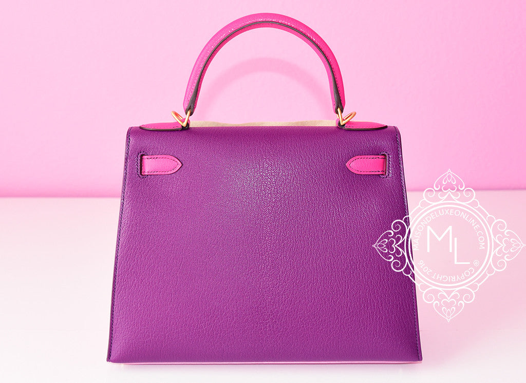 a8400787bfdb ... Hermes 5P Pink Rose Shocking Anemone Sellier Chevre Kelly 28 Handbag -  New - MAISON de ...