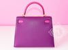 Hermes 5P Pink Rose Shocking Anemone Sellier Chevre Kelly 28 Handbag - New - MAISON de LUXE - 6