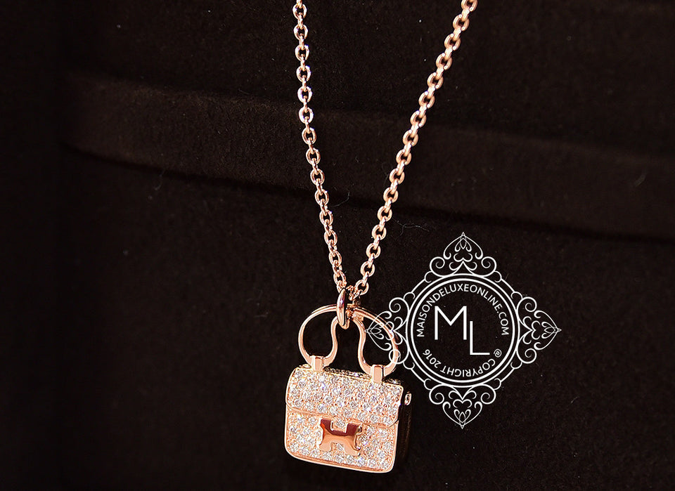Hermes Rose Gold Diamond Constance Pendant Necklace - New - MAISON de LUXE - 1