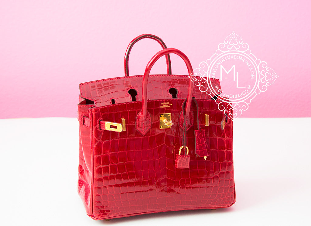 Hermes Braise Red Ferrari Crocodile Birkin 25 Handbag Kelly Bag ... b5bcb0382855